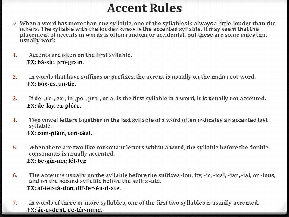 Accent Rules