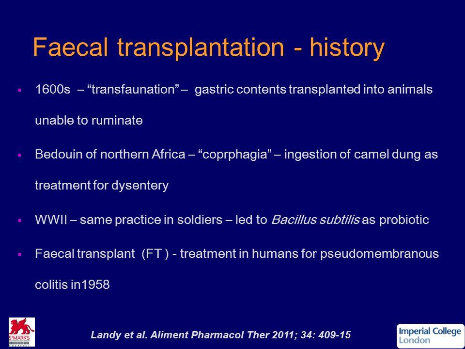 Faecal transplantation - history