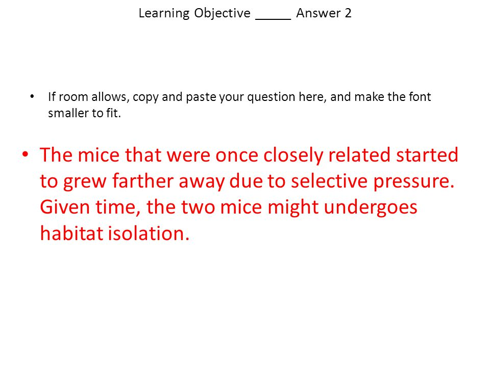Learning Objective _____ Answer 2