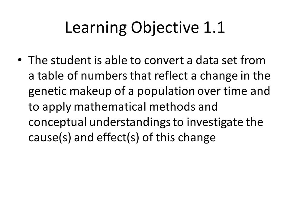 Learning Objective 1.1