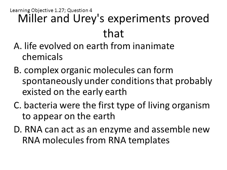 Miller and Urey s experiments proved that