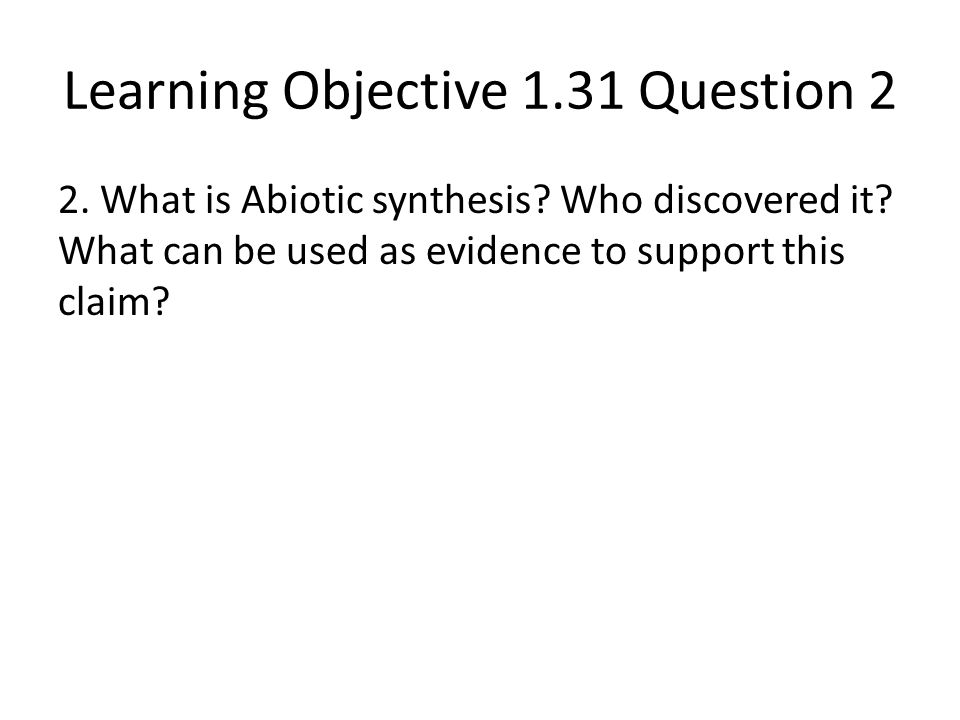 Learning Objective 1.31 Question 2
