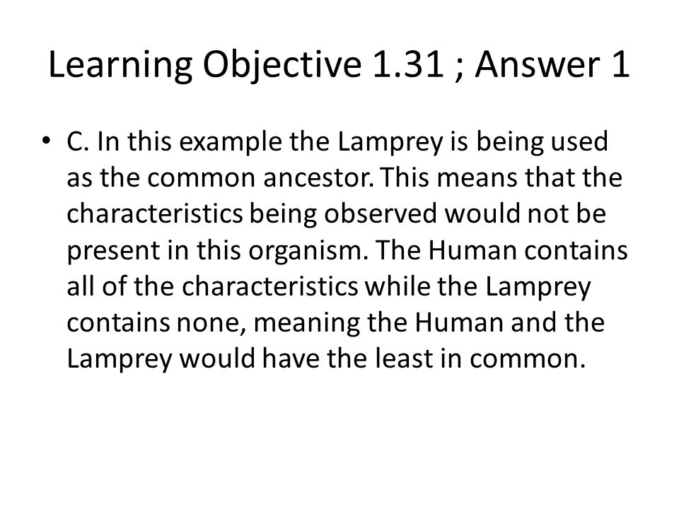 Learning Objective 1.31 ; Answer 1