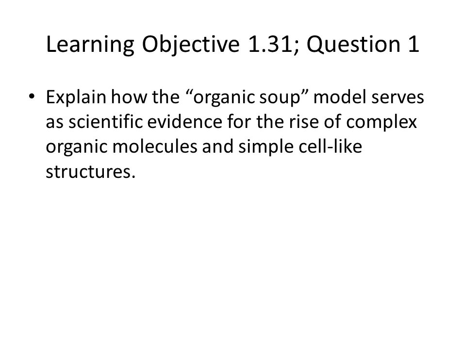 Learning Objective 1.31; Question 1