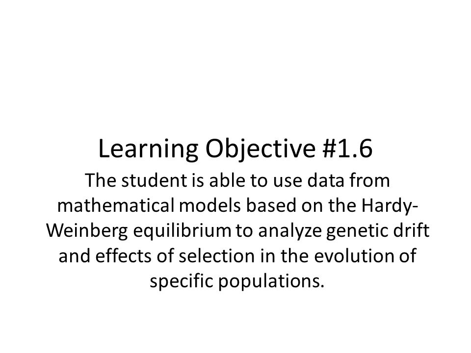 Learning Objective #1.6