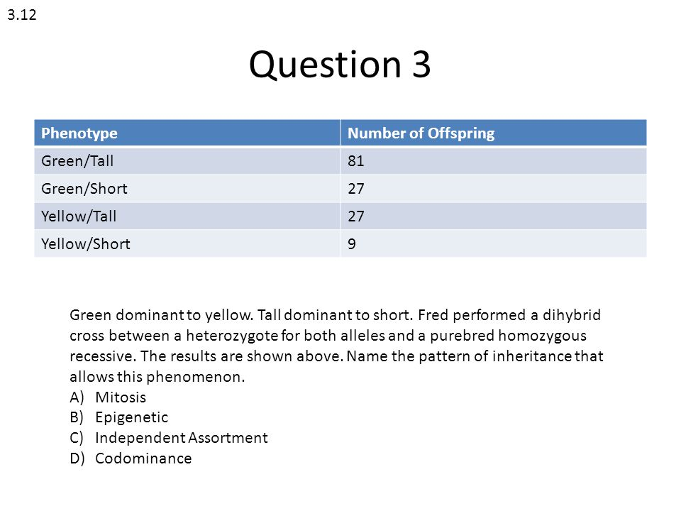 Question 3 3.12 Phenotype Number of Offspring Green/Tall 81