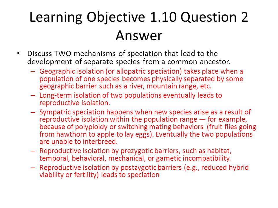 Learning Objective 1.10 Question 2 Answer