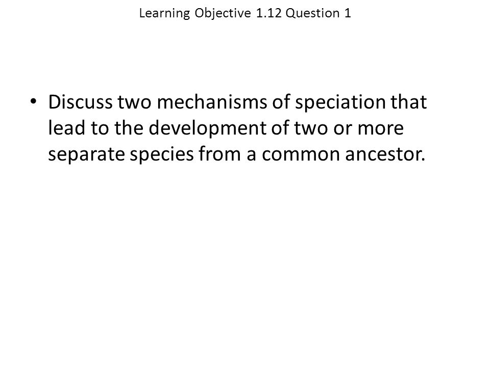 Learning Objective 1.12 Question 1