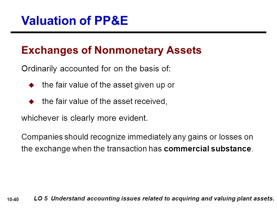 Valuation of PP&E Exchanges of Nonmonetary Assets