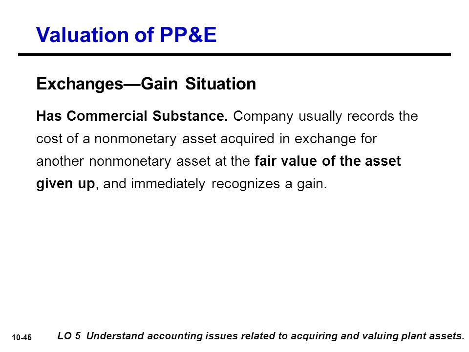 Valuation of PP&E Exchanges—Gain Situation