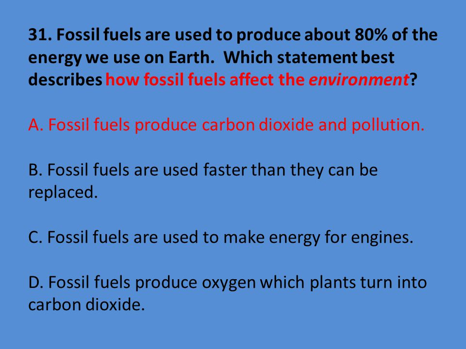 31. Fossil fuels are used to produce about 80% of the energy we use on Earth.