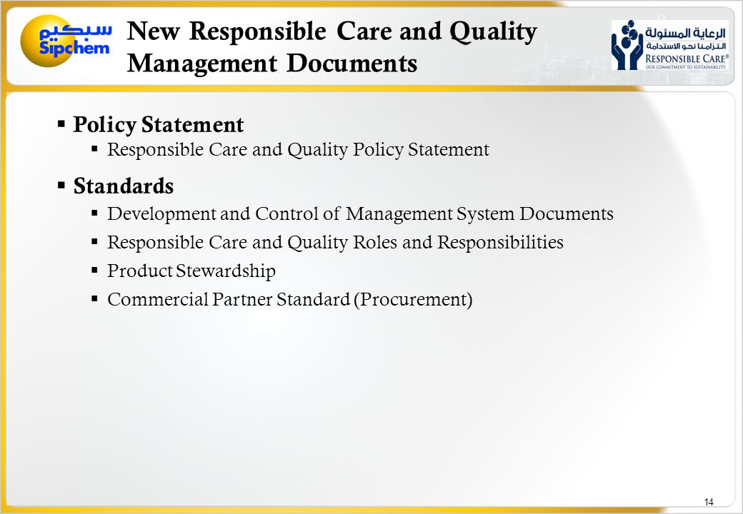 New Responsible Care and Quality Management Documents