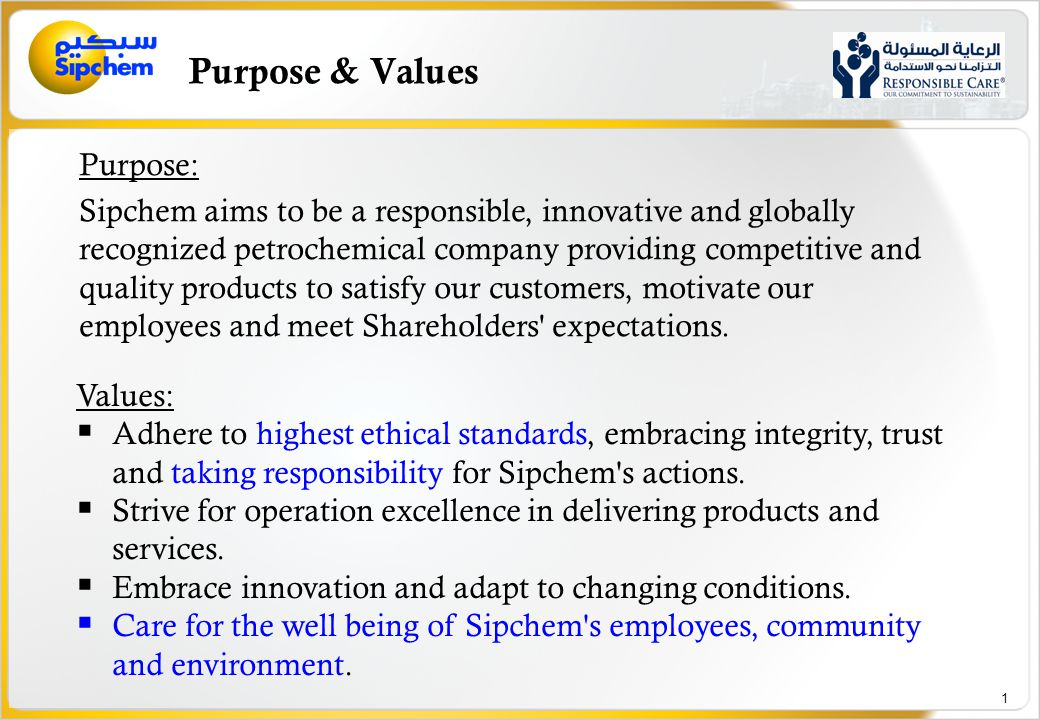 Sipchem Responsible Care and Quality Policy