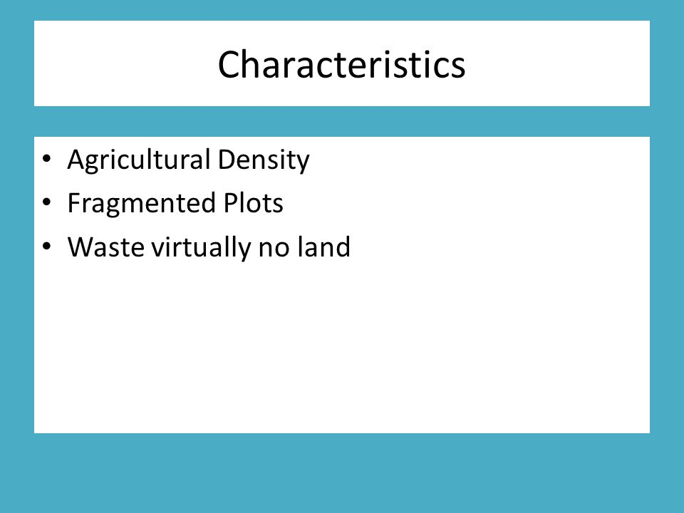 Characteristics Agricultural Density Fragmented Plots