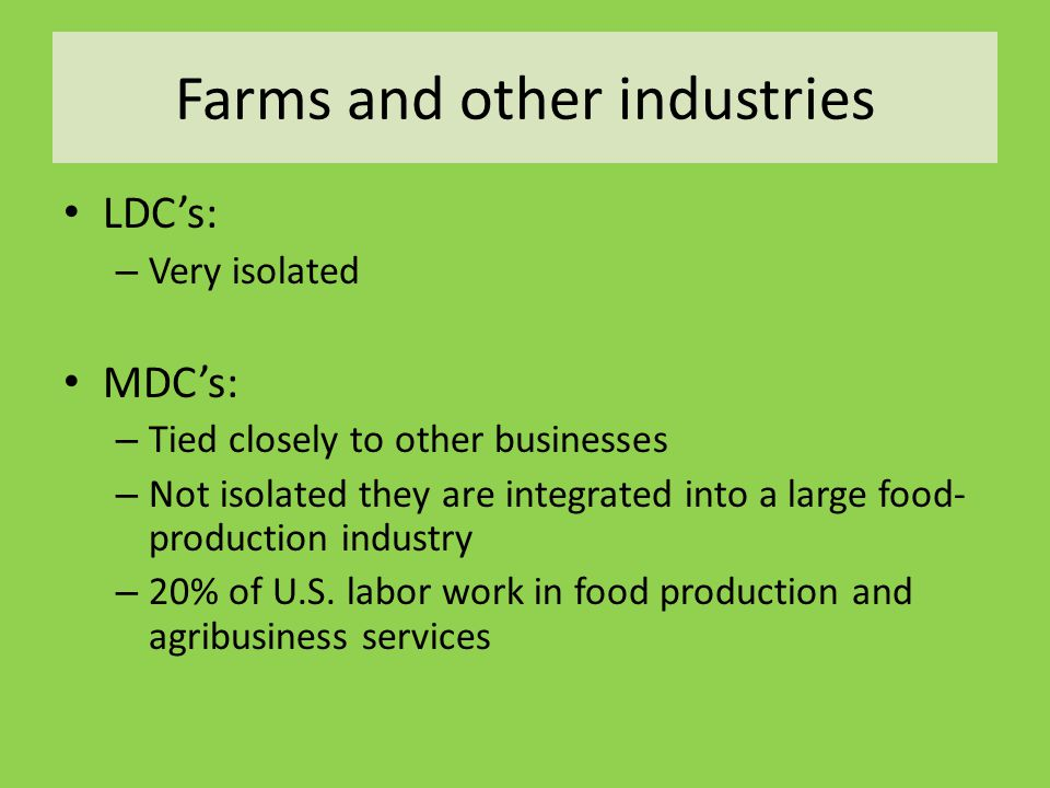 Farms and other industries