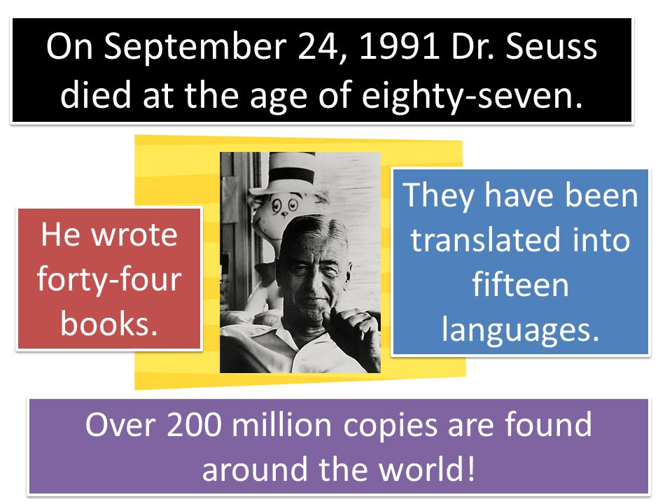 On September 24, 1991 Dr. Seuss died at the age of eighty-seven.