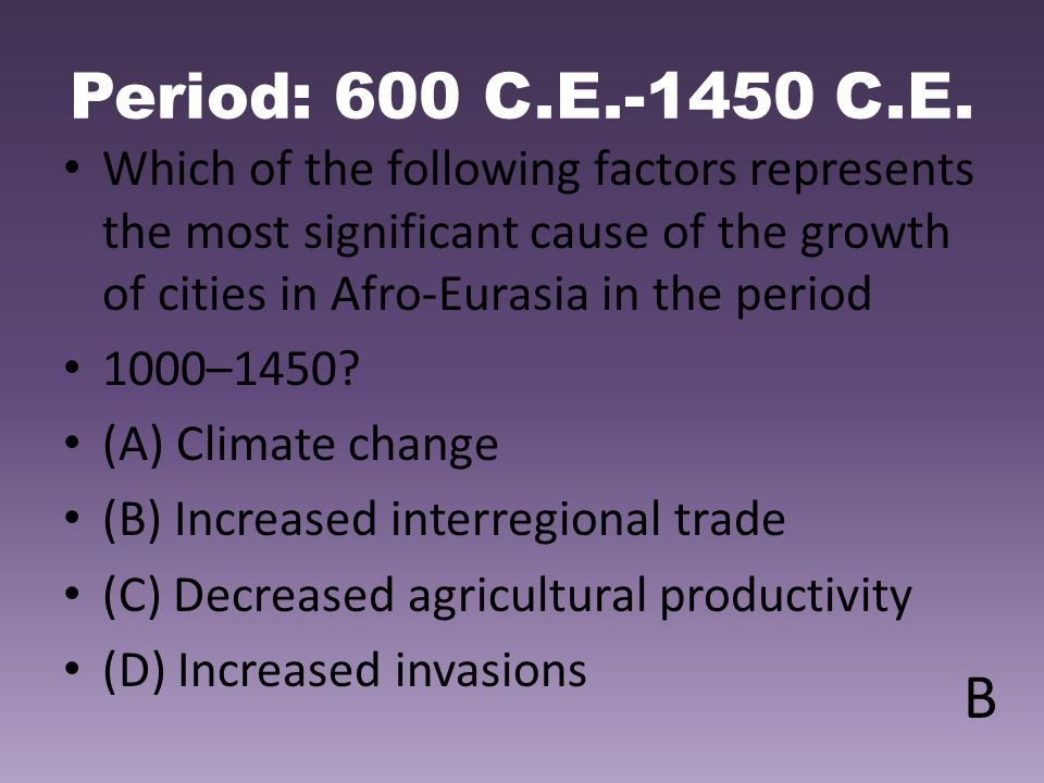 Period: 600 C.E.-1450 C.E. Which of the following factors represents the most significant cause of the growth of cities in Afro-Eurasia in the period.