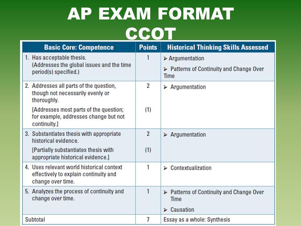 AP EXAM FORMAT CCOT