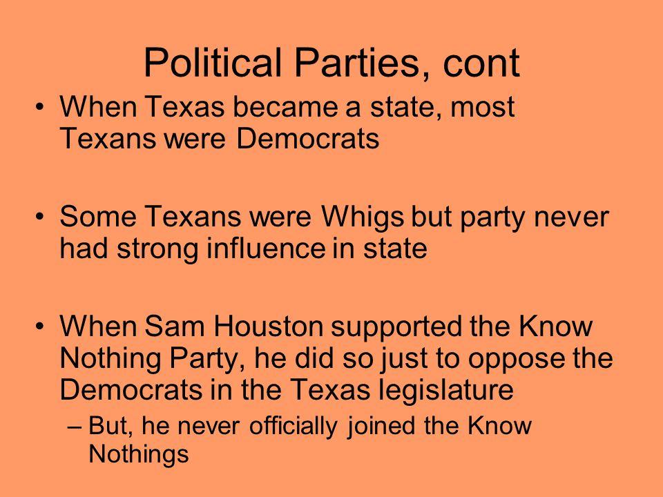 Political Parties, cont