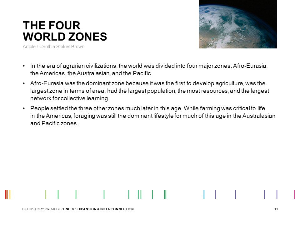 THE FOUR WORLD ZONES Article / Cynthia Stokes Brown.