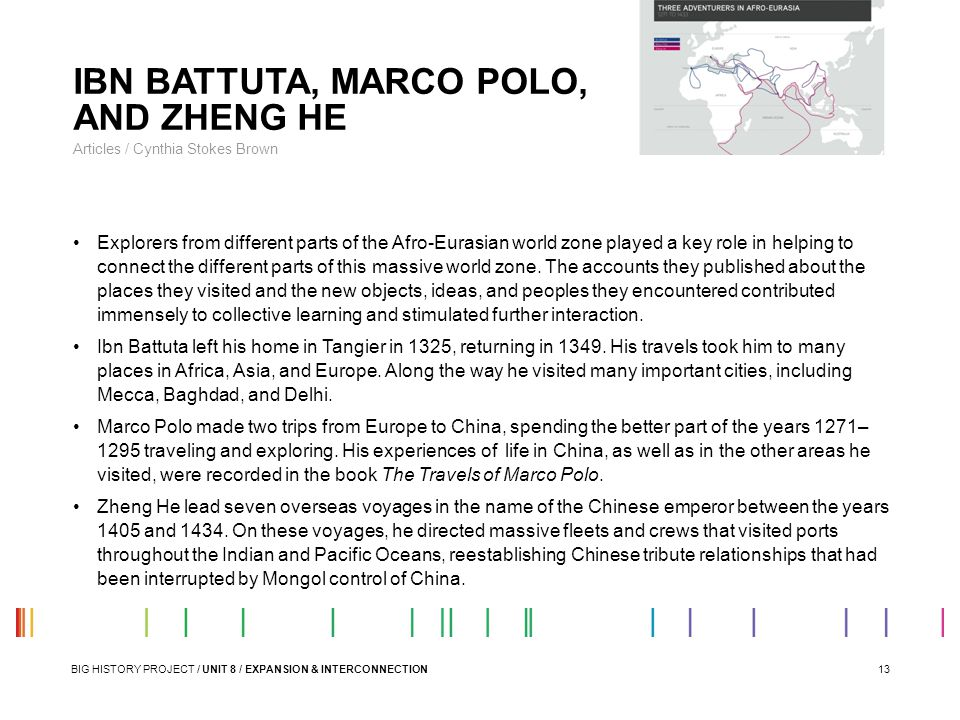 IBN BATTUTA, MARCO POLO, AND ZHENG HE
