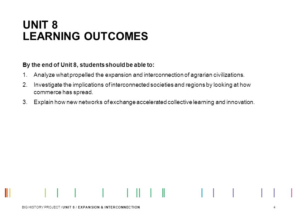UNIT 8 LEARNING OUTCOMES