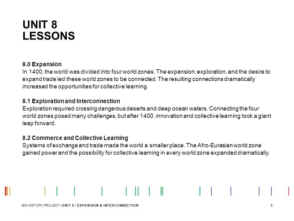UNIT 8 LESSONS 8.0 Expansion
