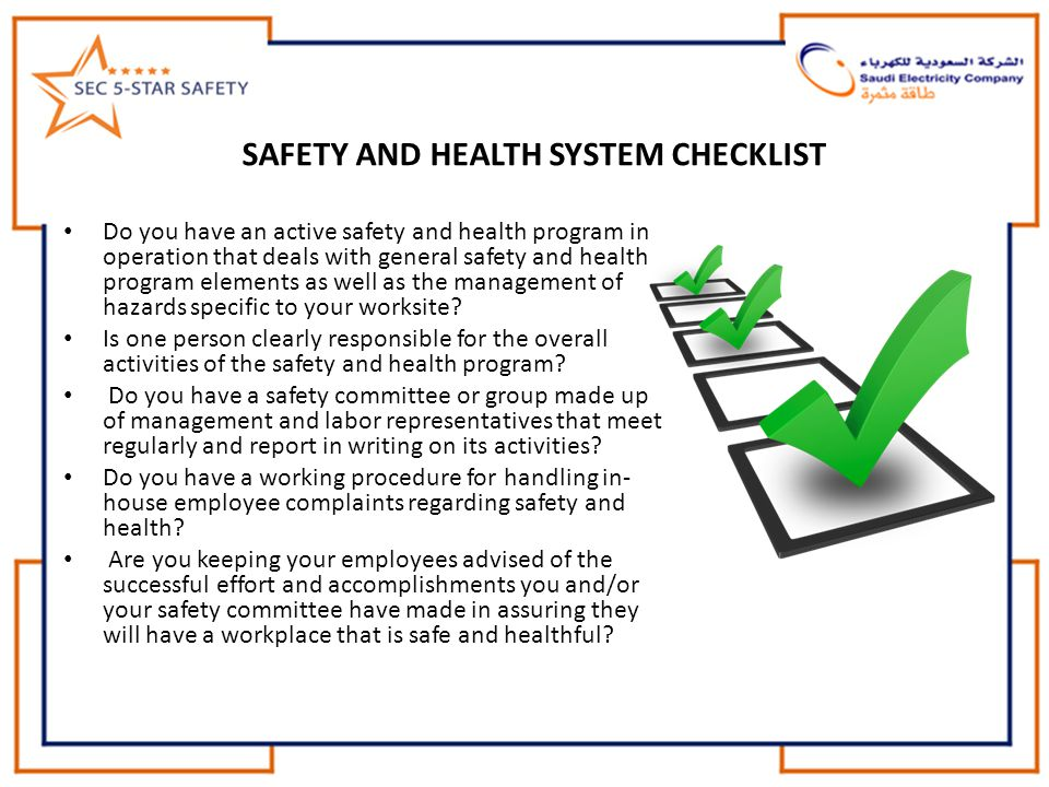 SAFETY AND HEALTH SYSTEM CHECKLIST