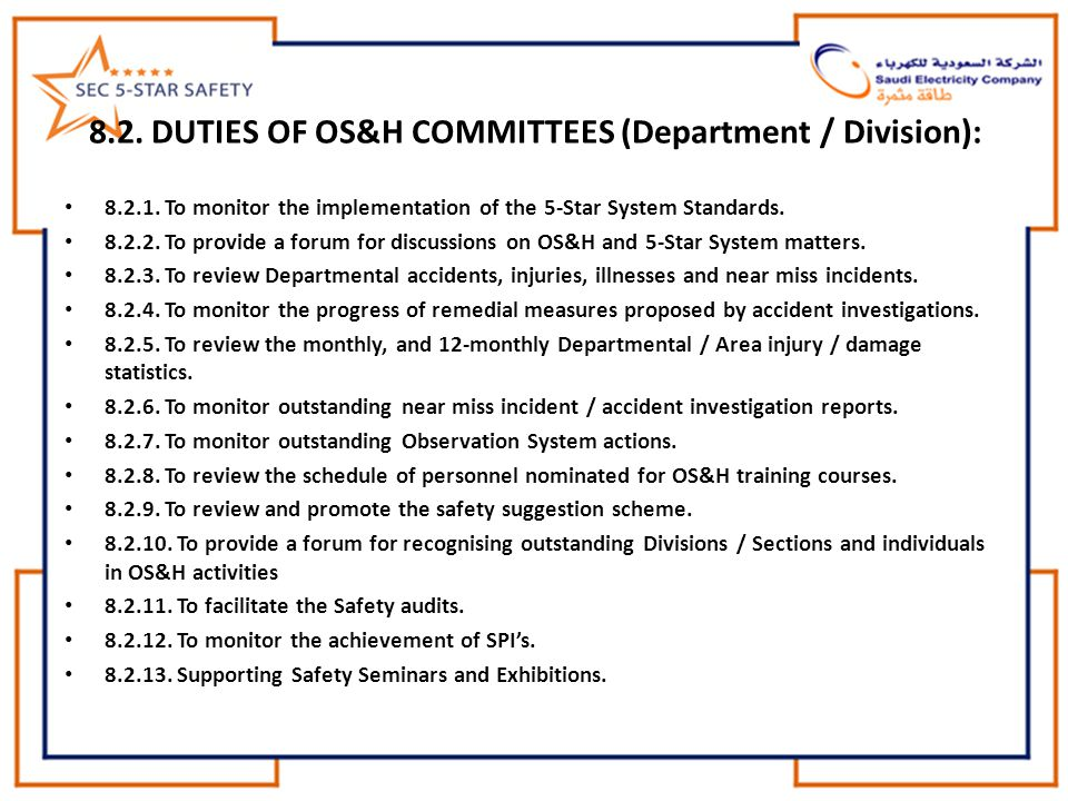 8.2. DUTIES OF OS&H COMMITTEES (Department / Division):