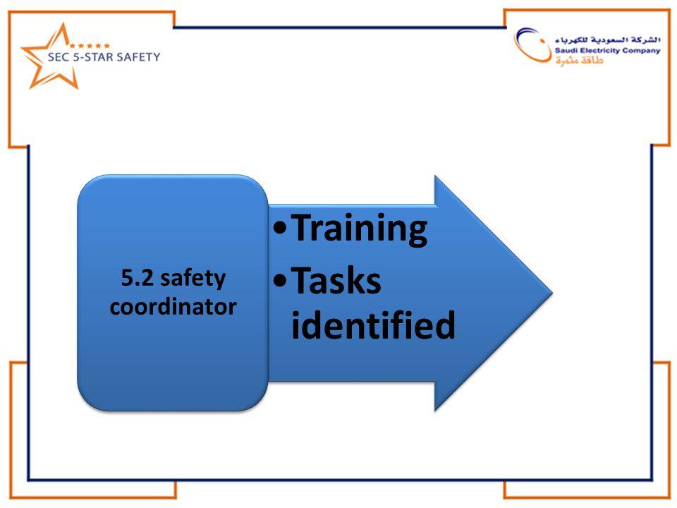Training Tasks identified 5.2 safety coordinator