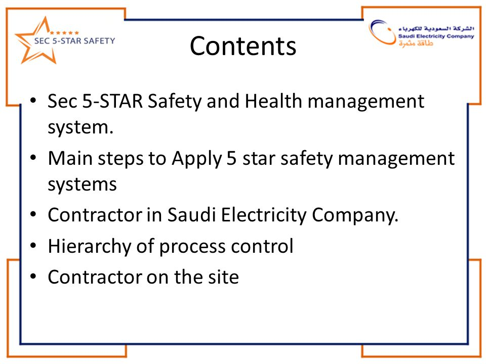 Contents Sec 5-STAR Safety and Health management system.