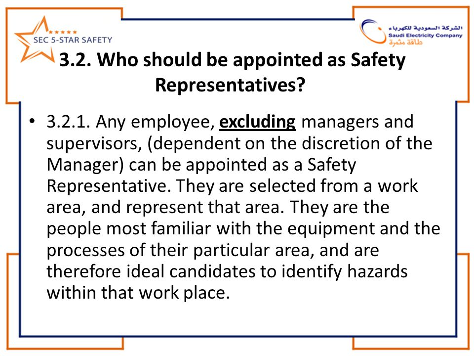 3.2. Who should be appointed as Safety Representatives