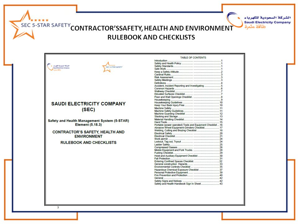 CONTRACTOR'SSAFETY, HEALTH AND ENVIRONMENT RULEBOOK AND CHECKLISTS