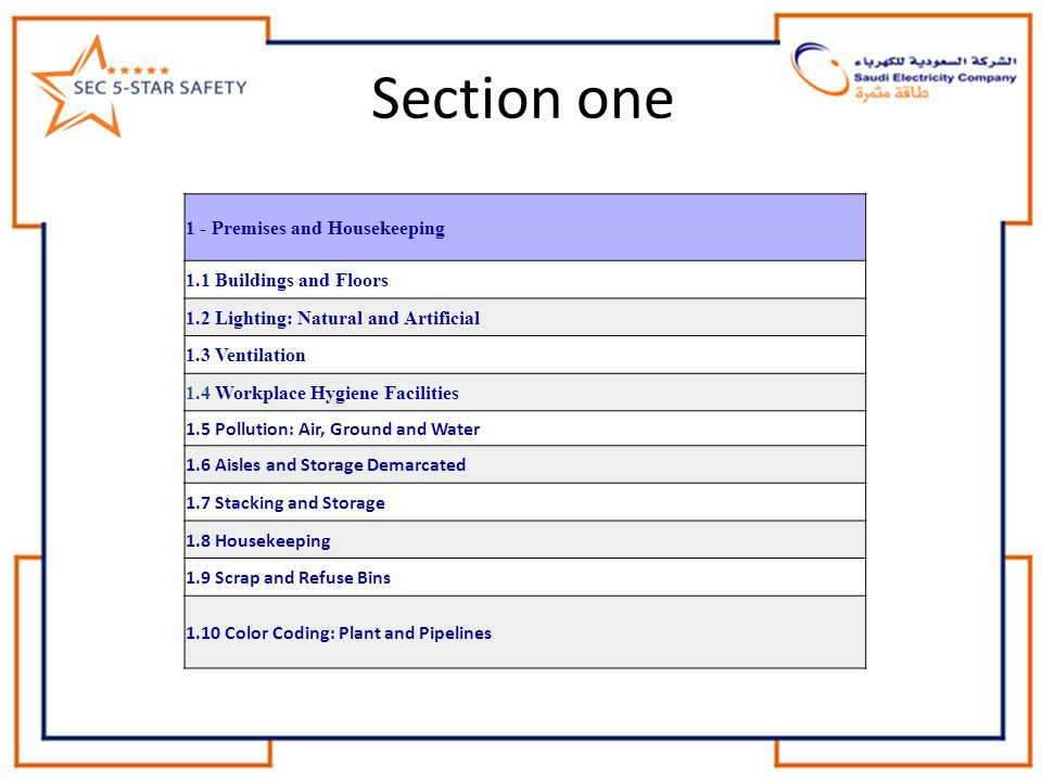 Section one 1 - Premises and Housekeeping 1.1 Buildings and Floors
