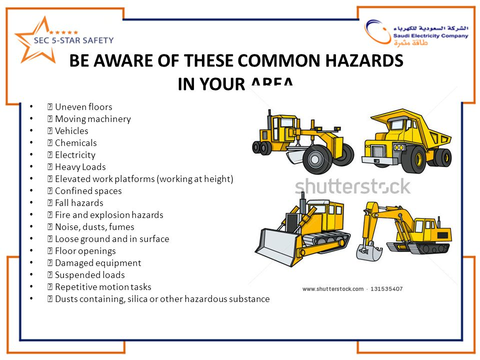 BE AWARE OF THESE COMMON HAZARDS IN YOUR AREA