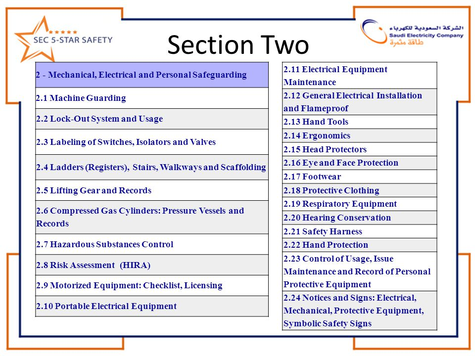 Section Two 2.11 Electrical Equipment Maintenance