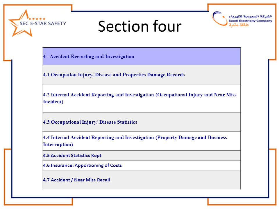 Section four 4 - Accident Recording and Investigation