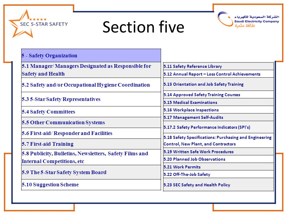 Section five 5 - Safety Organization