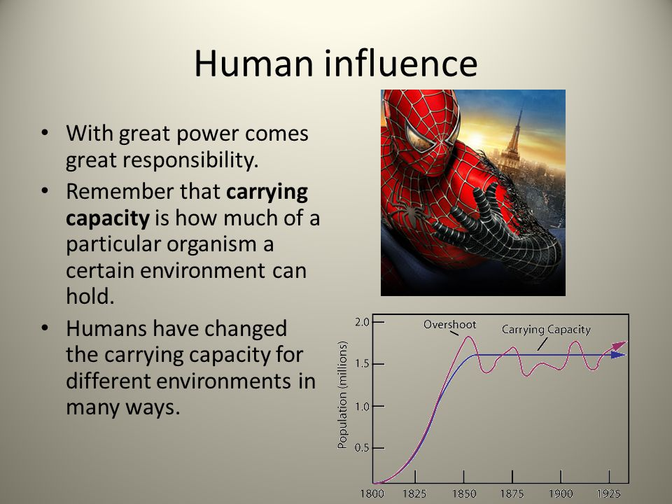 Human influence With great power comes great responsibility.