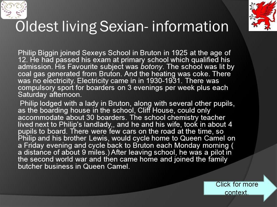 Oldest living Sexian- information