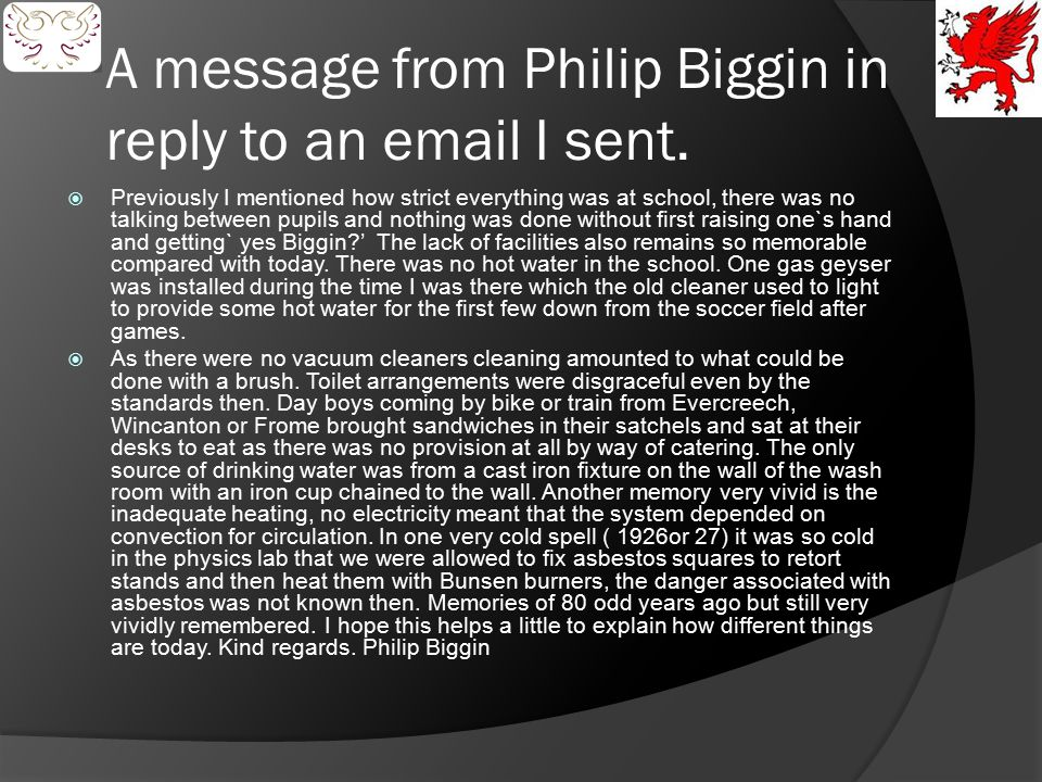 A message from Philip Biggin in reply to an email I sent.
