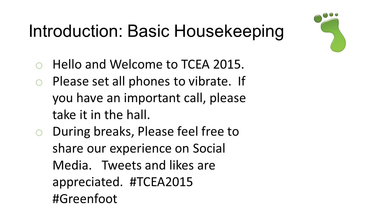 Introduction: Basic Housekeeping