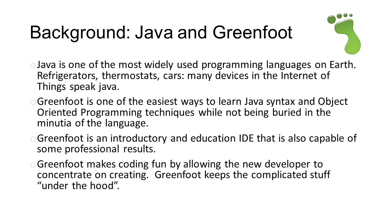 Background: Java and Greenfoot