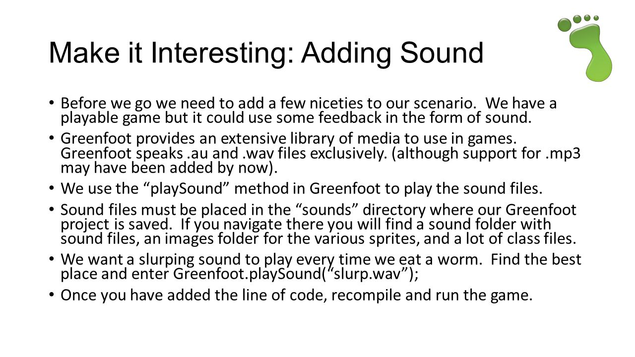 Make it Interesting: Adding Sound