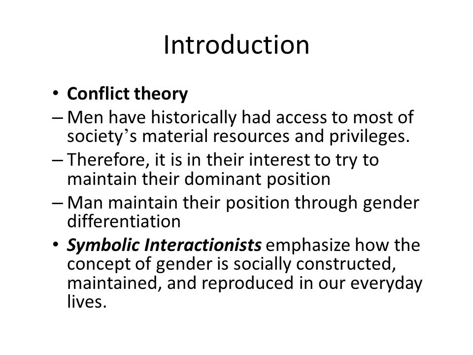 Introduction Conflict theory