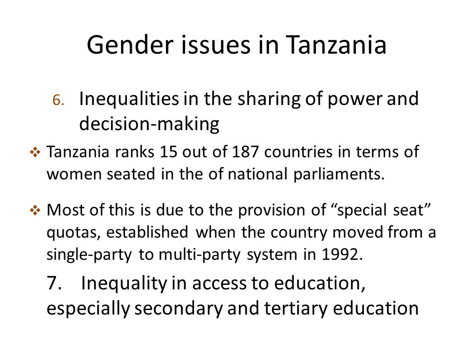 Gender issues in Tanzania