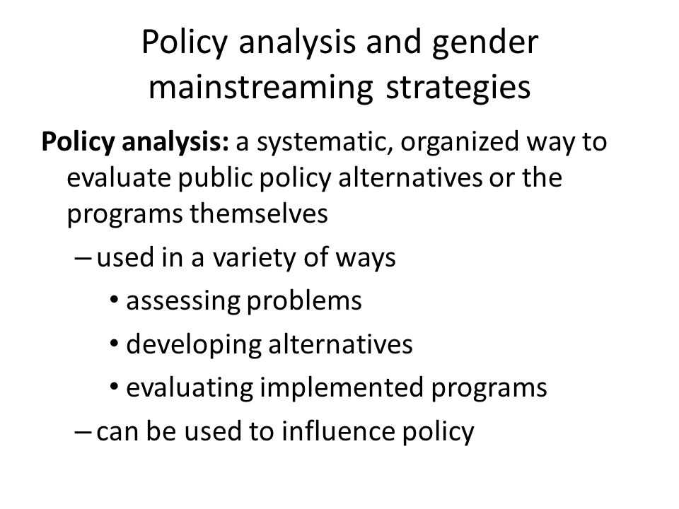 Policy analysis and gender mainstreaming strategies