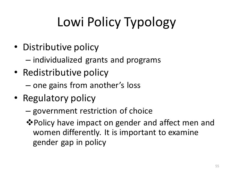 Lowi Policy Typology Distributive policy Redistributive policy