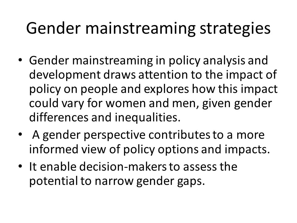 Gender mainstreaming strategies