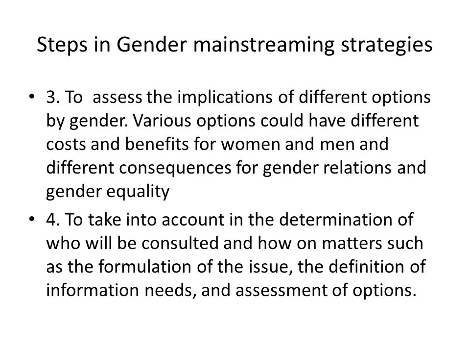 Steps in Gender mainstreaming strategies